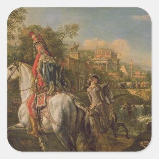 En Hussar på hästryggen, 1773 Fyrkantigt Klistermärke