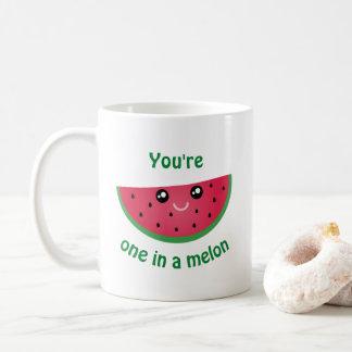 En i en rolig gullig Kawaii för melon vattenmelon Kaffemugg