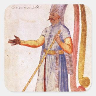 En Janissary eller en soldat, 1567 Fyrkantigt Klistermärke