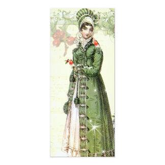 En Joyous Noel Jane Austen inspirerad meny 10,2 X 23,5 Cm Inbjudningskort