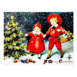 En julhälsning med en familjflytta med A.C. Vykort