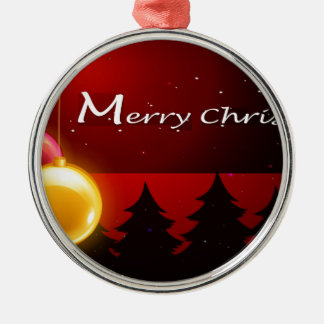En julkortmall med sparkling bollar rund silverfärgad julgransprydnad