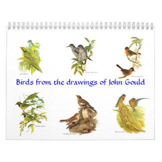 En kalender av fågelpainitings från John Gould.