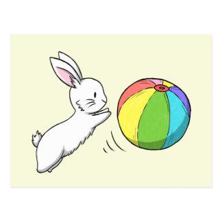 En kanin och en boll vykort