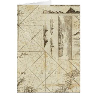 En kartlägga av de Maderas och kanariefågelöarna Hälsningskort