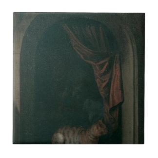 En katt på fönstret av målare studior vid Gerr Kakelplatta