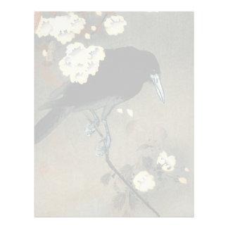 En kråka och en blommar vid Ohara Koson vintage Brevhuvud