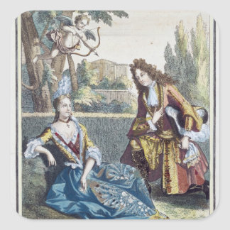 En kvinna som placeras på gräset fyrkantigt klistermärke