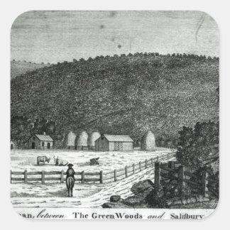 En lantgård i Kanaan, Connecticut Fyrkantigt Klistermärke