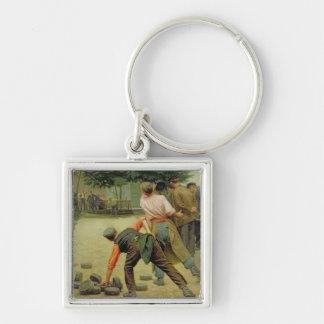 En lek av Bourles i Flanders, 1911 Fyrkantig Silverfärgad Nyckelring