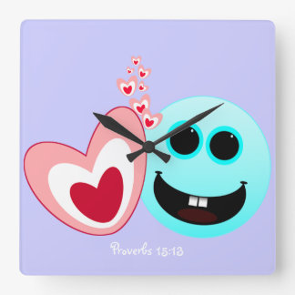 En lycklig hjärta - Proverbs15:13 NIV Fyrkantig Klocka