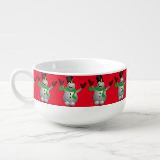 En lycklig snögubbe mugg för soppa