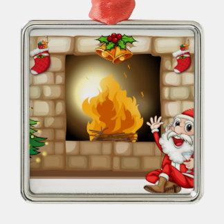 En lyckliga Santa nära spisen Silverfärgad Fyrkantigt Julgransprydnad