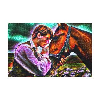 En man & hans tjocka akryl för häst målar porträtt canvastryck