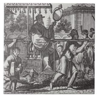 En Mandarin i en Sedanstol, illustration från ett  Kakelplatta