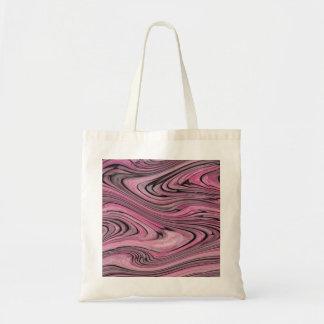 En modern abstrakt rosasvart vinkar mönster budget tygkasse