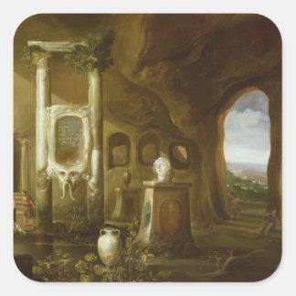 En monument till Augustus, i en grotto med Fyrkantigt Klistermärke