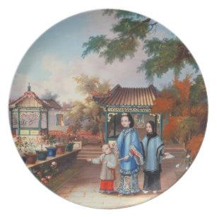 En mor med henne barn i en kinesträdgård b5243c9884b05
