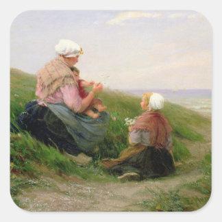 En mor och henne småbarn fyrkantigt klistermärke