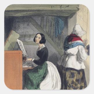 En musik skolar eleven, från 'Les Femmes de Fyrkantigt Klistermärke