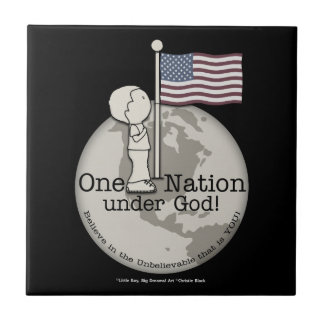 En nation under Gud-Litepojke på US-flagga Kakelplatta