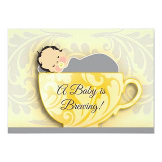 En neutralt för gender för baby showerTeaparty | 12,7 X 17,8 Cm Inbjudningskort