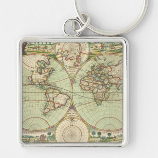 En ny mapp av världen - kartbok fyrkantig silverfärgad nyckelring