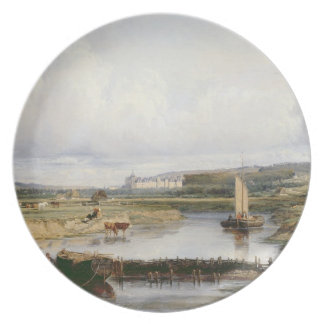 En omfattande flod landskap med en beskåda av Chen Fest Tallrikar