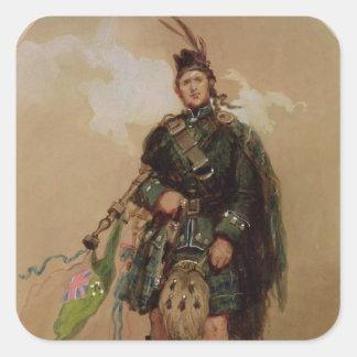 En pipblåsare av de 79th highlandersna på Chobham Fyrkantigt Klistermärke