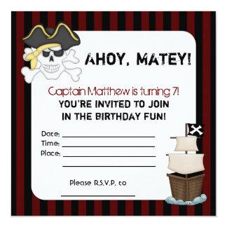 """""""En pirat liv för mig"""" födelsedaginbjudan Fyrkantigt 13,3 Cm Inbjudningskort"""