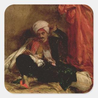 En placerad Turk, 1826 (olja på kanfas) Fyrkantigt Klistermärke