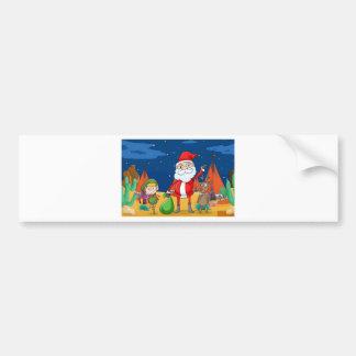 en pojke, en ren och Santa Claus Bildekal