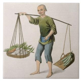 En pojke med grönsaker, pläterar 54 från 'dräktern kakelplatta