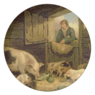 En pojke tittar in i en grisSty, 1794 (olja på kan Tallrikar
