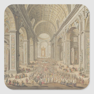 En procession i St Peter, Rome (w/c över en etsa Fyrkantigt Klistermärke