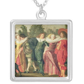 En promenad i trädgården, c.1623 silverpläterat halsband