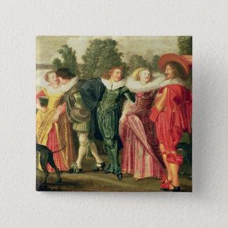 En promenad i trädgården, c.1623 standard kanpp fyrkantig 5.1 cm