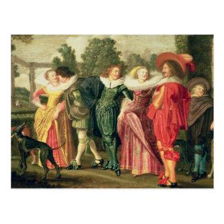En promenad i trädgården, c.1623 vykort