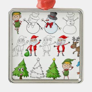 En ren bredvid jultomten med hans listar silverfärgad fyrkantigt julgransprydnad
