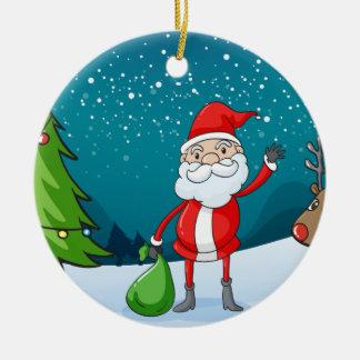 en ren och ett Santa Claus Rund Julgransprydnad I Keramik