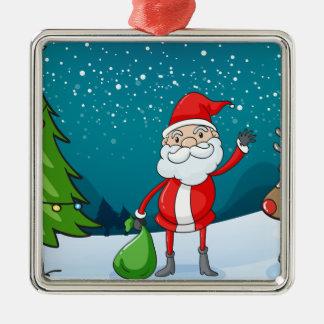 en ren och jultomten silverfärgad fyrkantigt julgransprydnad