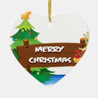 En ren som kramar träsignboarden för christ hjärtformad julgransprydnad i keramik