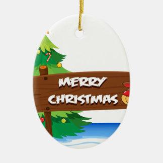 En ren som kramar träsignboarden för christ ovalformad julgransprydnad i keramik