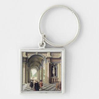 En renaissance Hall Fyrkantig Silverfärgad Nyckelring