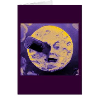 En resa till månen (purpurfärgad mousserande Fuzz) Hälsningskort