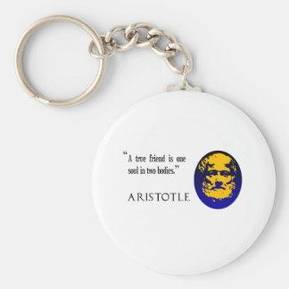 En riktig vän av Aristotle. Keychain Rund Nyckelring