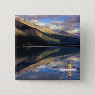 En roddare på Banff sjön i Kanada HERR) Standard Kanpp Fyrkantig 5.1 Cm