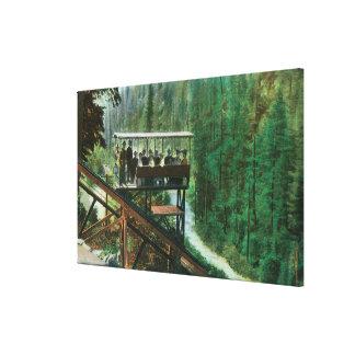 En sceniska järnväg Along Sacramentoet River Canvastryck