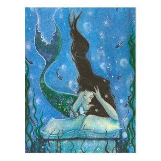 En sjöjungfru sagavykort vykort