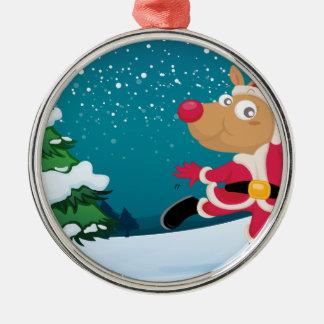 En skämtsam ren som ha på sig Santas dräkt Rund Silverfärgad Julgransprydnad